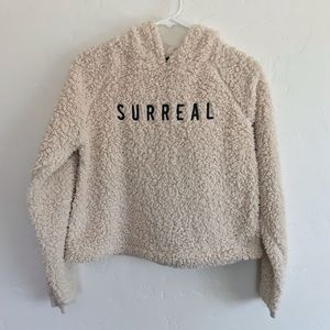 Urban Outfitters Cream Teddy Cropped Hoodie Small
